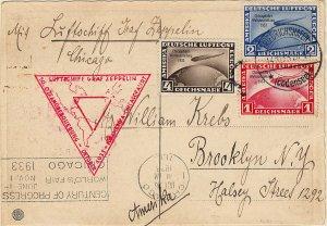 GERMANY C43-C45 1933 Century Of Progress Flight Post Card (72919)