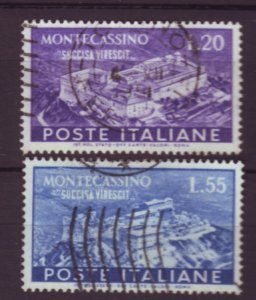 J22642 Jlstamps 1951 italy better set used #579-80 montecassino $51.90 scv