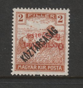 French Occ. of Hungary a 2f Inverted overprint MH