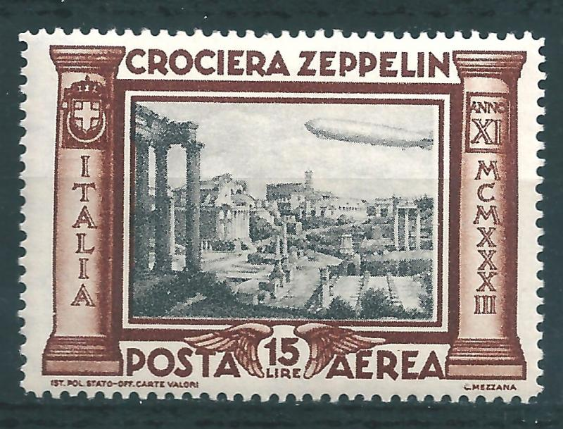 IITALY : T054  -  1933 air mail ZEPPELIN 15 L. - very leight hinged
