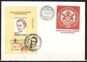 Hungary, Scott cat. 2775. Composer Zoltan s/sheet on a First day cover.