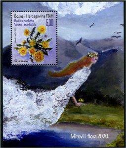 HERRICKSTAMP NEW ISSUES BOSNIA (CROAT ADMIN) Myths & Flora 2020 Souvenir Sheet