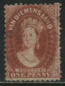 Tasmania QV 1864 1d carmine unused no gum