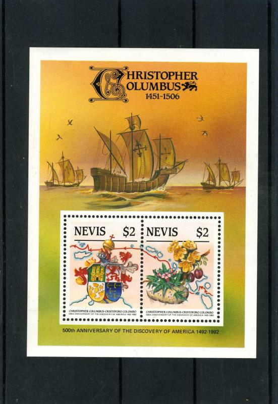 Nevis Christopher Columbus Anniversary Souvenir Sheet Perforated mnh.vf