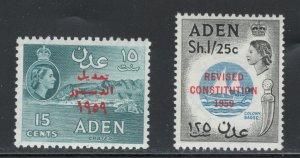 Aden 1959 New Constitution Scott # 63 - 64 MH