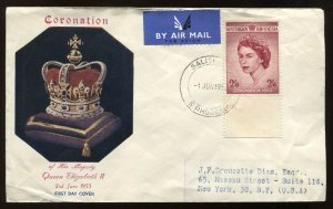 Southern Rhodesia QEIi 1953 Coronation cacheted cover to New York