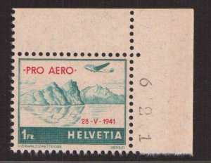 Switzerland   #C35   MNH  1941  special flight overprint