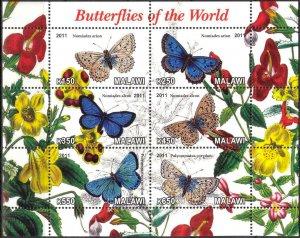 Malawi 2011 Butterflies (4) MNH Cinderella !
