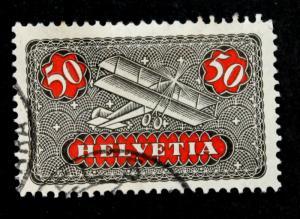 Stamp Switzerland, -Sc# C9, Mi# 184x Used Air Mail