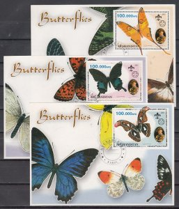 Afghanistan, 2001 Cinderella issue. 3 Butterfly s/sheets with Scout. Canceled. ^