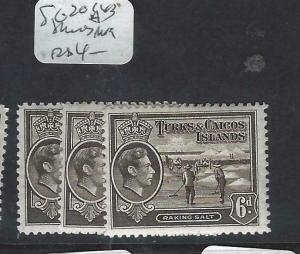 TURKS AND CAICOS (P2203B)  KGVI   6D   SG 201A X 3  SHADES     MOG