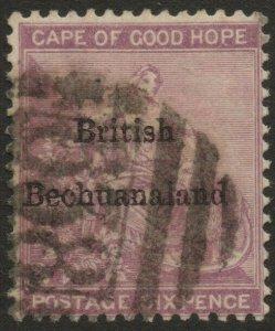BECHUANALAND-1885-87 6d Reddish-Purple Sg 7 GOOD USED V38156