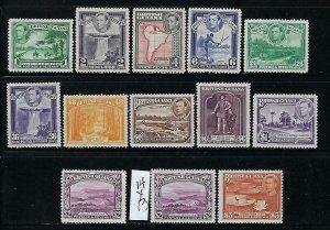 BRITISH GUIANA SCOTT #230-241 1938-52 GEORGE VI SET  (TWO TYPES OF $2) MINT LH