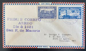1931 Dominican Republic First Flight Airmail Cover FFC To Port Spain Trinidad