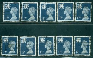 GREAT BRITAIN WALES SG-W45, SCOTT # WMMH-31, USED, 10 STAMPS, GREAT PRICE