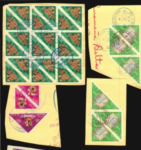 PANAMA VERY NICE FRAGMENTS LOT IMPERFORATED POSTALLY USED RR SPACE TRIANGLE