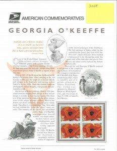 USPS COMMEMORATIVE PANEL #486 GEORGIA O'KEEFE #3069