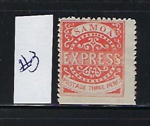SAMOA SCOTT #3 1879 PERF 12 1/2- 3P (VERMILION)REPRINT (SPACE FILLER) MINT HINGE