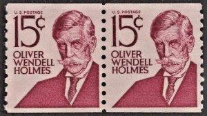 US 1305E MNH VF 15 Cent Oliver Wendell Holmes Shiny Gum Pair Type I
