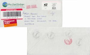 Meters $8.05 Meter 2001 Ludlow MA 01056 USPS Airmail Registered to Melbourne,...