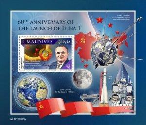 Stamps MALDIVES / 2020  Launch of Luna 1 - BLOK.