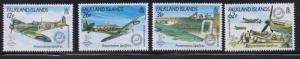 Falkland Islands Sc 515-8 1990 Spitfire airplanes stamp set mint NH