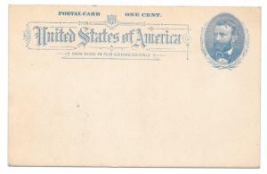 US Sc UX11 1c Grant Blue 1891 Postal Stationery Card Unused