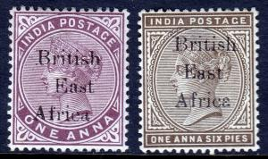 BR. EAST AFRICA — SCOTT 55,56 (SG 50,51) — 1895 QV OVPTS  — MH — SCV $13.25