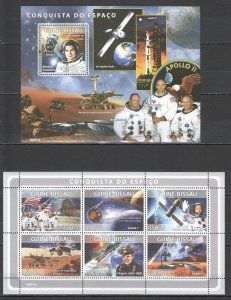BC1405 2008 GUINEA-BISSAU GAGARIN TERESHKOVA ARMSTRONG SPACE CONQUEST KB+BL MNH
