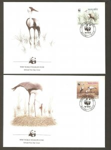 1987   MALAWI   -  4 x WWF FIRST DAY COVERS  - WHATTLED CRANE