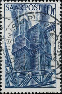 SARRE / SAARLAND - 1948  NEUNKIRCHEN date stamp on Mi.248 10fr blast furnaces