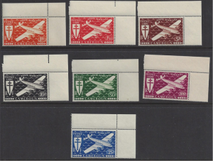 Cameroon #C1-7 MNH set, Cross of Lorraine & four motor plane, Issued 1945