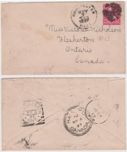USA to Canada 1897 2c Washington Cover WORCESTER MASS Duplex FLESHERTON Sq. Circ