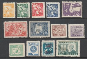 Korea Sc 61/182 MNG. 1946-52 issues, 13 diff better singles without gum o/w F-VF