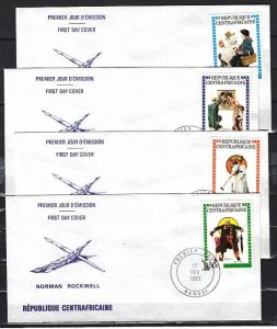 Central Africa, Scott cat. 506-509. N. Rockwell`s Art on 4 First day covers.
