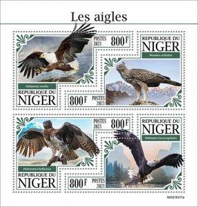 NIGER - 2021 - Eagles - Perf 4v Sheet -Mint Never Hinged