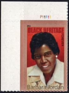 SC#4565 (44¢) Black Heritage Series: Barbara Jordan Plate Single (2011) SA
