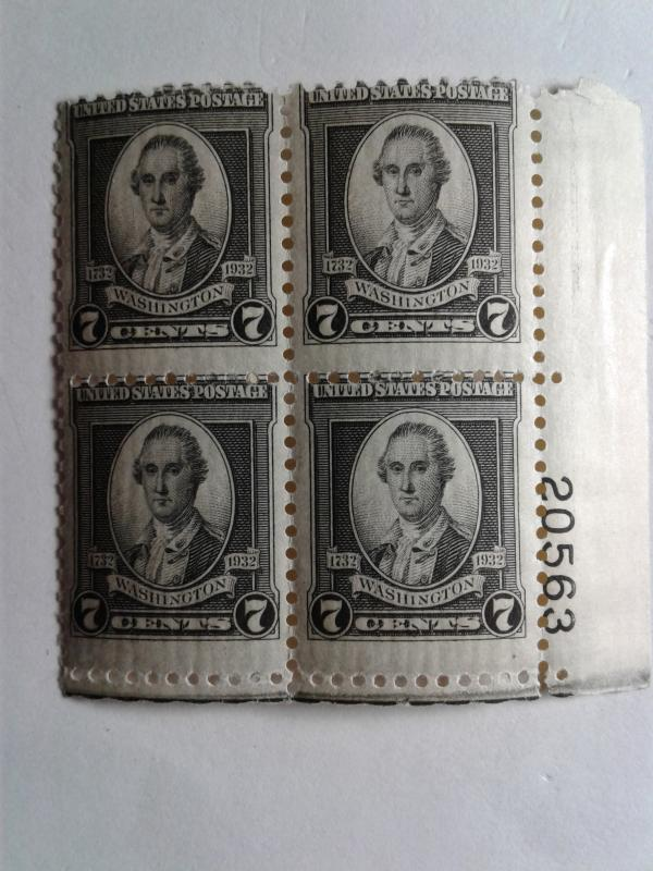 SCOTT # 712 WASHINGTON PLATE BLOCK MINT NEVER HINGED GREAT LOOKING GEM  !!