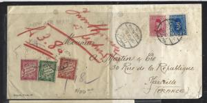 EGYPT (P0812B)  1939  LETTER FROM  ALEXANDRIA TO FRANCE 3C+30C+60C   POSTAGE DUE