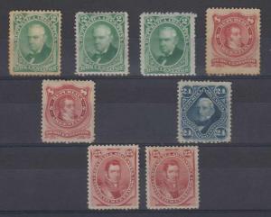 ARGENTINA 1877-87 ISSUES Sc 38-40 & 56 (8x) FULL SET SHADES MINT/UNUSED SCV$104+