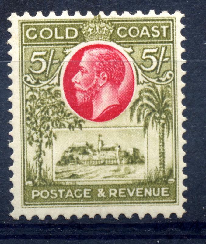 Gold Coast 1928 SG 112 5/- Carmine & Sage Green, fine mint