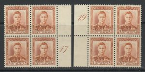 New Zealand, CP M1b, MNH plate 17 and 19 blocks of four