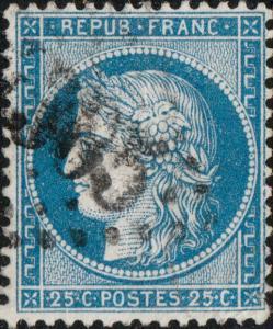 FRANCE - Yv.60A 25c bleu (type I) oblitéré GC4305 (VITRY-LE-FRANÇOIS)