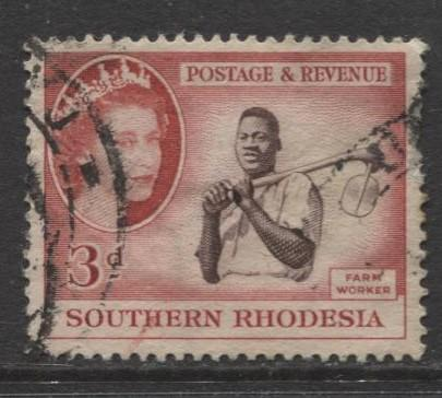 Southern Rhodesia- Scott 84 - QEII Definitives - 1953 - Used - Single 3d Stamp