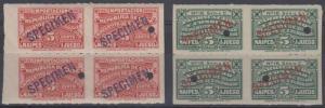 SPANISH ANTILLES 1930 REVENUES CARDS 5 Cents Series A & C TWO BLOCKSx4 SPECIMEN