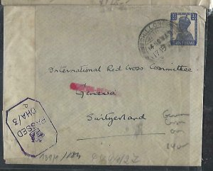 INDIA  (PP0711B)  1942 KGVI 3 1/2A CENSOR, GERMAN, COVER TO SWITZERLAND