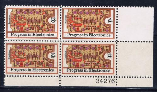 U.S. 1501 NH 1973 Progress in Electronics plate block of 4
