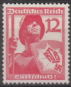 Stamp Germany Mi 645 Sc 483 1937 Fascism Air Raid Protect Soldier MH