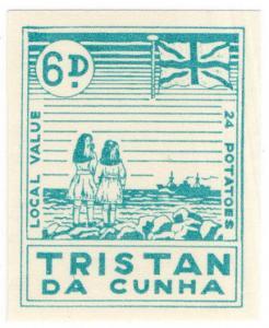 (I.B) Tristan da Cunha Postal : Local Post 6d (Ship)