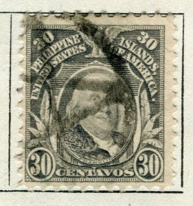 PHILIPPINES; 1909 early Portrait series issue used 30c. value